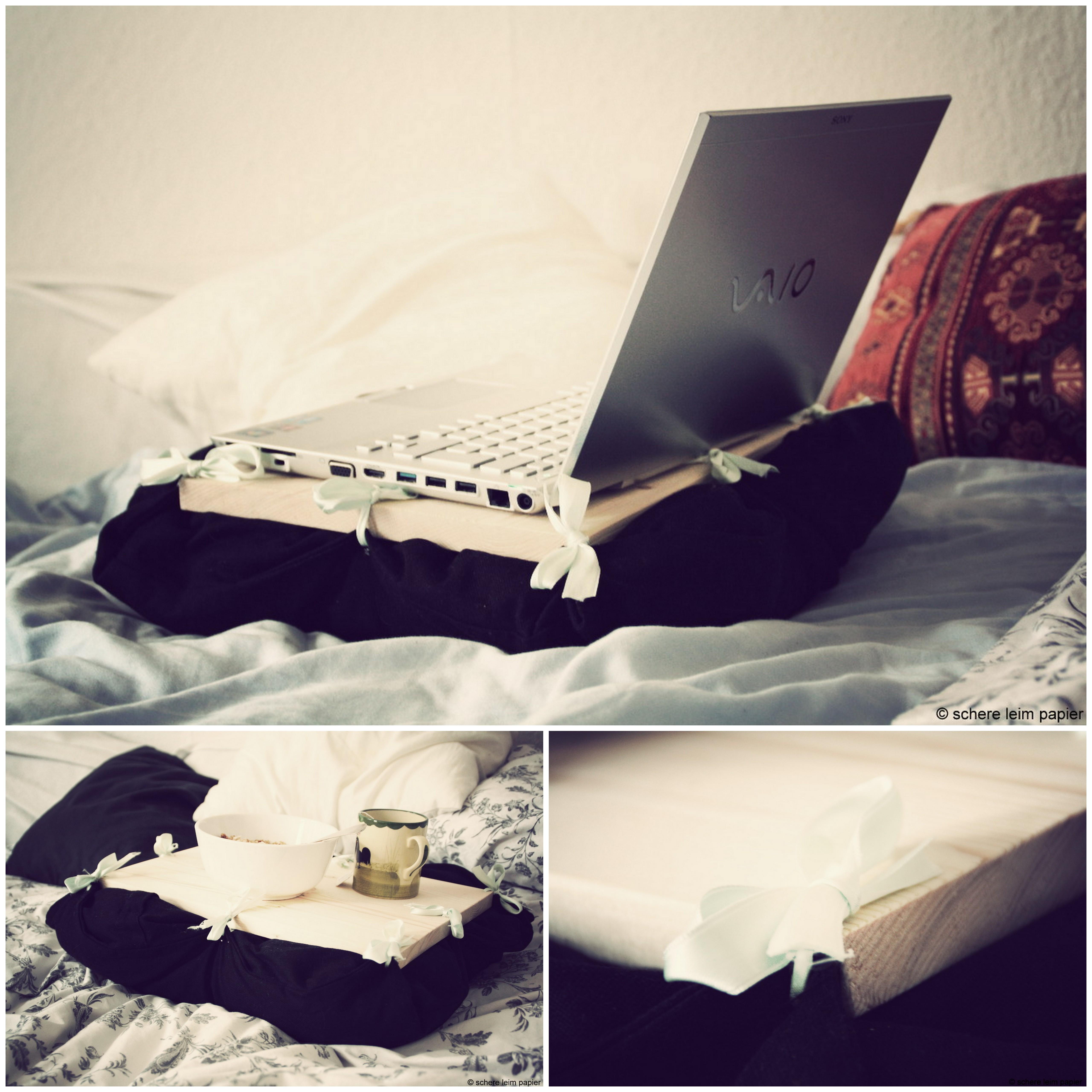 laptophalter tisch f rs bett selbstgemacht schere leim papier. Black Bedroom Furniture Sets. Home Design Ideas