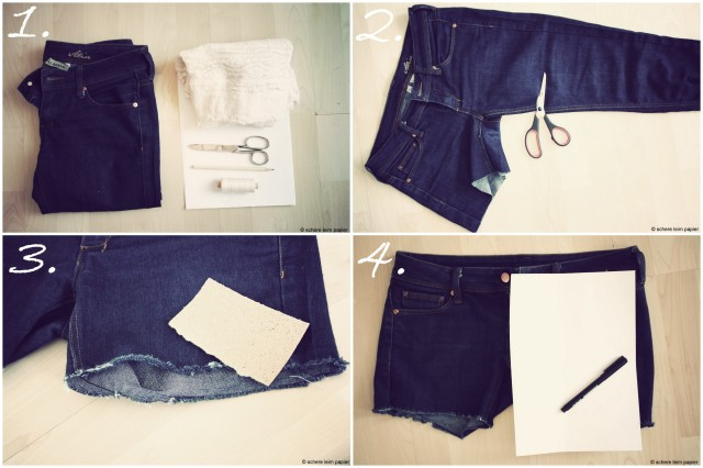 DIY Upcycling Jeansshorts mit Spitze